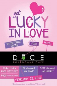 lucky in love dice boardgame cafe