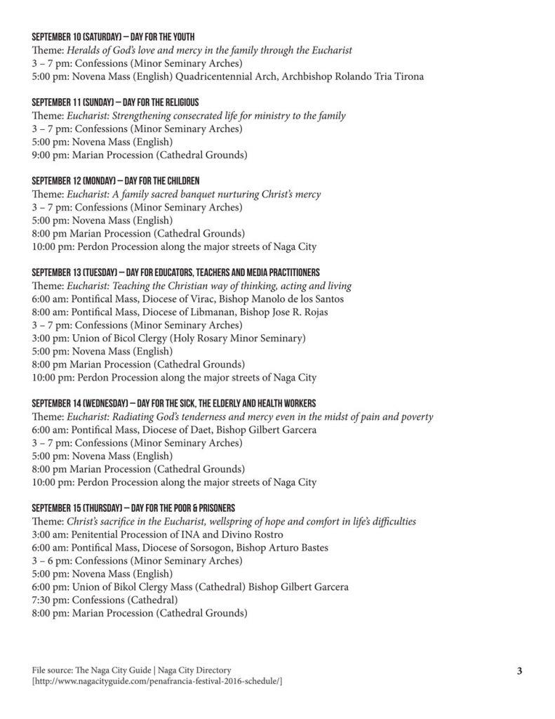 Peñafrancia Festival 2016 Schedule p3