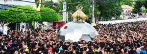 Our Lady of Peñafrancia Festival Traslacion Procession 2015; photo taken as the traslacion procession passes by The Carmen Hotel Downtown Naga City; Photo by Jerome Palma