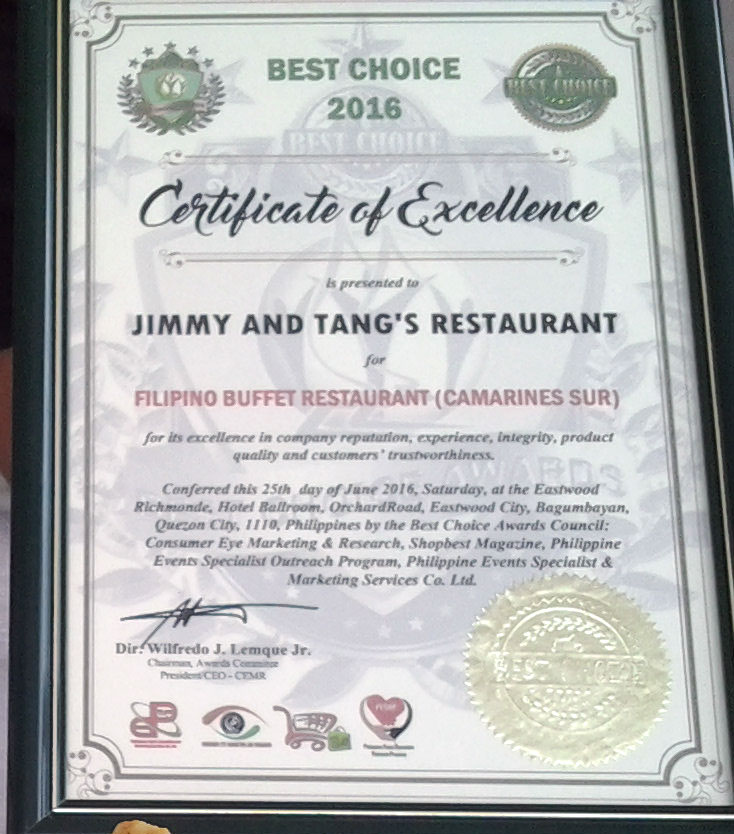 Jimmy and Tangs Restaurant Best Choice Award