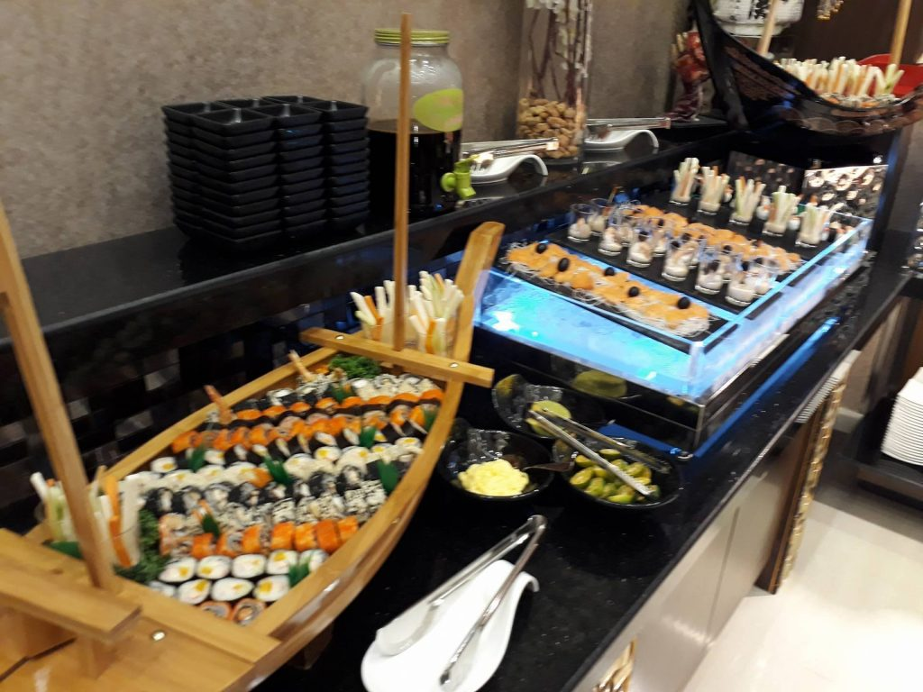 villa caceres rjs buffet sushi selection