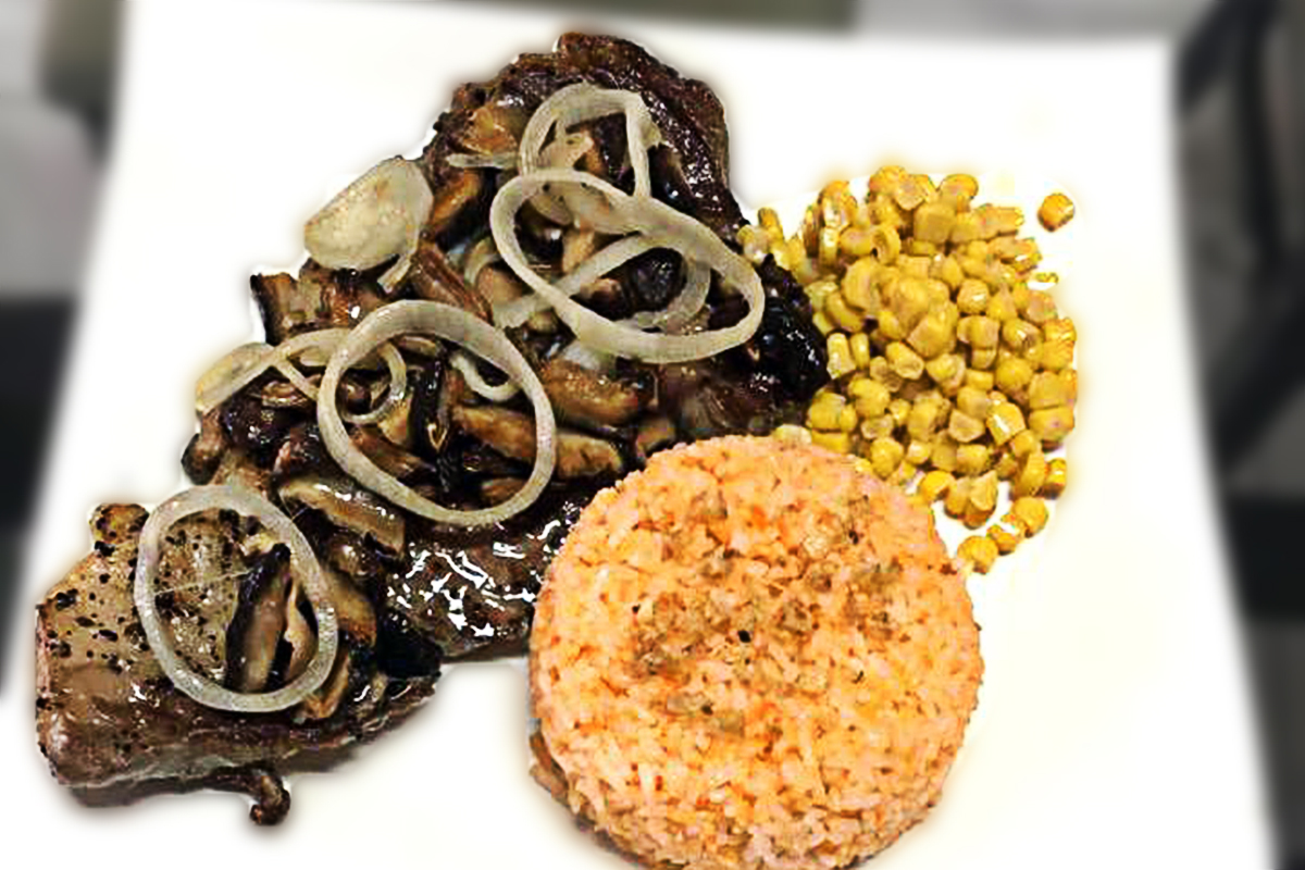 Black Angus Rib Eye Steak with Fried Rice and Corn by Jimmy & Tang's