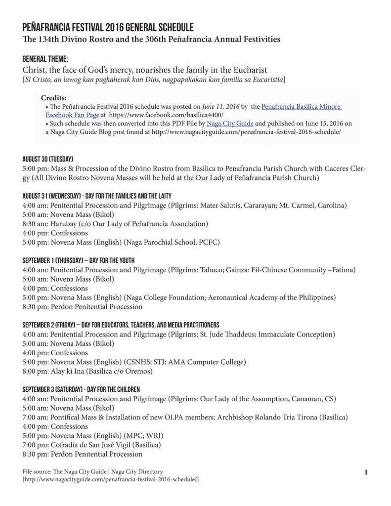 Peñafrancia Festival 2016 Schedule p1