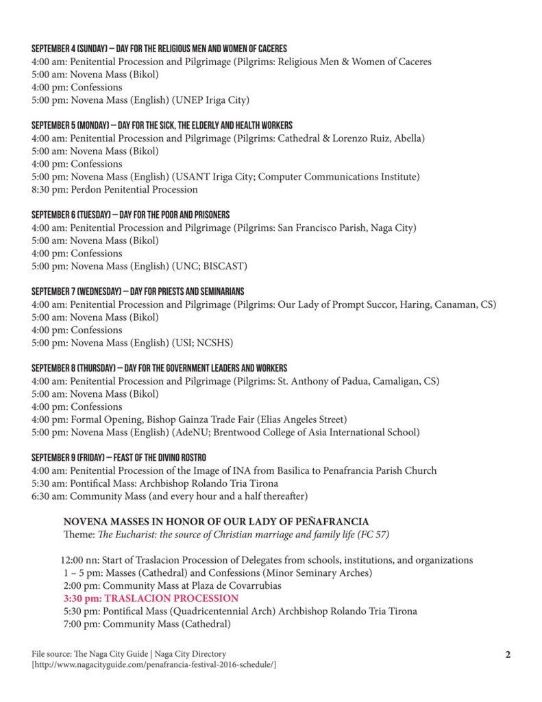 Peñafrancia Festival 2016 Schedule p2