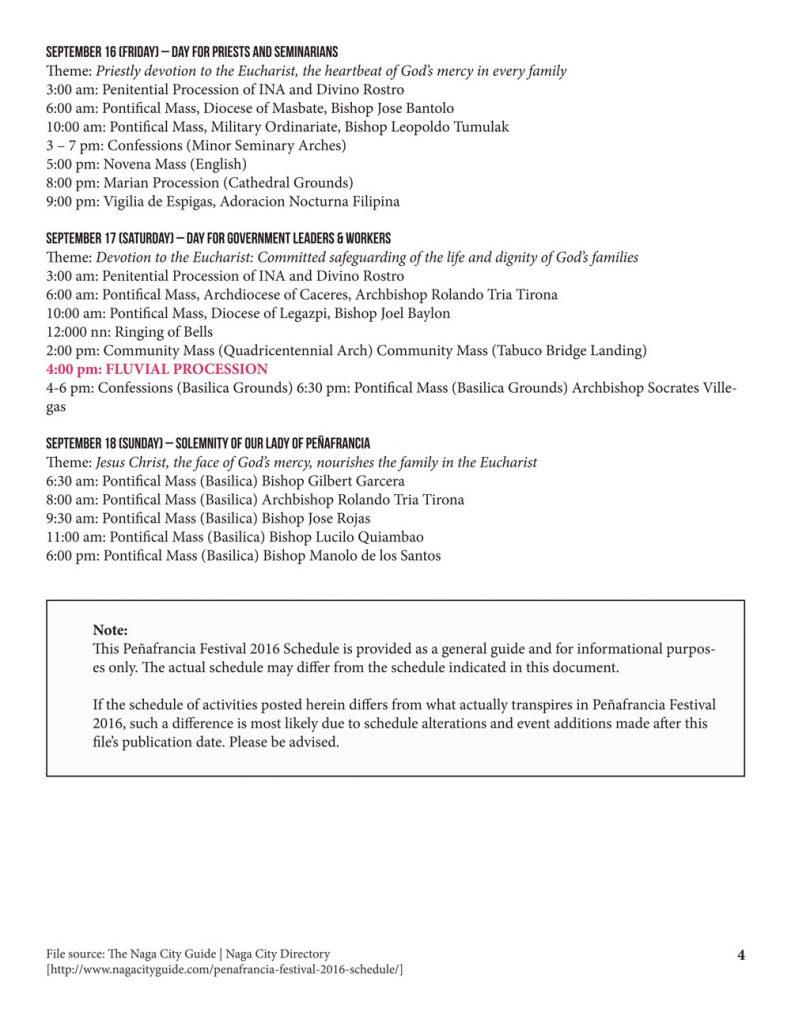 Peñafrancia Festival 2016 Schedule p4